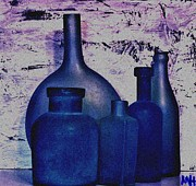 And Posters Prints - Blue Bottles Print by Marsha Heiken