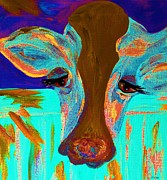 Calf Mixed Media - Blue Bovine by Eloise Schneider