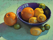Oranges Pastels Framed Prints - Blue Bowl 2 Framed Print by Sarah Blumenschein