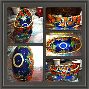 Orange Glass Art - Blue Bowl by Rae Chichilnitsky