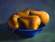 Blue Bowl Posters - Blue Bowl With Four Pears Poster by Frank Wilson