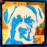Boxer Mixed Media Posters - Blue Boxer Poster by Ashley Reign