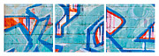 Blue Brick Graffiti Print by Art Block Collections