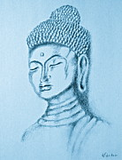 Relaxed. Drawings Prints - Blue Buddha Print by Victoria Lakes