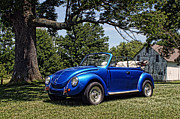 Vdub Framed Prints - Blue Buggin Framed Print by Off The Beaten Path Photography - Andrew Alexander