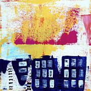 City Buildings Mixed Media Prints - Blue Buildings Print by Linda Woods