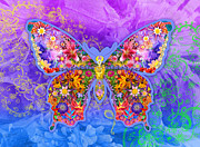 Multi-colored Art - Blue Butterfly Floral by Alixandra Mullins
