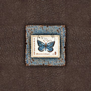 Photomontage Posters - Blue Butterfly on Copper Poster by Carol Leigh