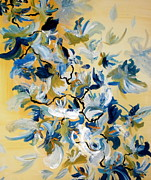 Flower Still Life Prints Posters - Blue Butterfly Painting Poster by France Laliberte