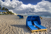 Beach Scenes Photos - Blue Cabana by Debra and Dave Vanderlaan