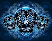 Skulls Digital Art - Blue Calaveras by Tammy Wetzel