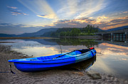 Tennessee River Prints - Blue Canoe at Sunset Print by Debra and Dave Vanderlaan