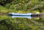 Canoe Metal Prints - Blue Canoe Metal Print by Deborah Benoit