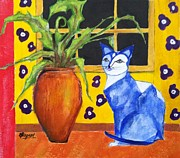 Elizabeth  Bogard - Blue Cat with Palm
