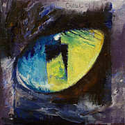 Contemporary Surrealism Posters - Blue Cat Eye Poster by Michael Creese