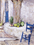 Painted Wood Prints - Blue Chair by the Tree Print by Diana Schofield