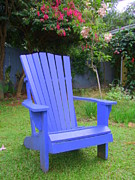 Lawn Chair Prints - Blue Chair Print by Mary Deal