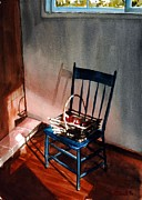 Interior Still Life Paintings - Blue Chair Red Apples by Tom Garfield