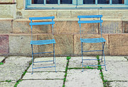 Blue Chairs 1 Stockholm Sweden Print by Marianne Campolongo