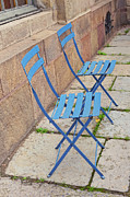 Blue Chairs 2 Stockholm Sweden Print by Marianne Campolongo