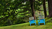 Empty Chairs Originals - Blue Chairs on a Hillside by Harold Bonacquist