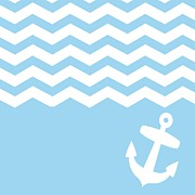 Boat Minimalism Digital Art - Blue Chevron and Anchor by Li Or