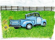 Chevrolet Pickup Truck Drawings Posters - Blue Chevy Poster by Christa Cruikshank
