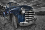 Blue And White Prints - Blue Chevy Print by Mike Horvath