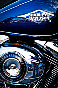 Classic Cycle Prints - Blue Chopper Print by David Patterson