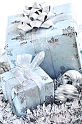 Ribbon Prints - Blue Christmas gift boxes Print by Elena Elisseeva