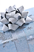 Ribbon Prints - Blue Christmas gift Print by Elena Elisseeva