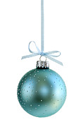 Ribbon Photo Posters - Blue Christmas ornament Poster by Elena Elisseeva