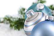 Sitting Photo Prints - Blue Christmas ornaments Print by Elena Elisseeva