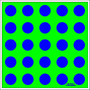 Op Art Painting Posters - Blue Circles on a Green Background by D Perry Lawrence Poster by David Perry Lawrence