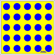 Op Art Painting Posters - Blue Circles on a Yellow Background by D Perry Lawrence Poster by David Perry Lawrence