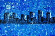 Cities Originals - Blue City - Abstract Cityscape Art Painting by Sharon Cummings