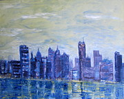 Iconic Paintings - Blue Cityscape and River by Errol  Jameson