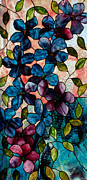 Copper Foil Glass Art - Blue Clematis by David Kennedy