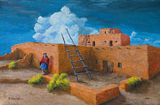 Fall Color Painting Posters - Blue Cloud Pueblo Poster by Jerry McElroy
