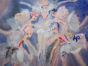 Ballet Dancers Paintings - Blue clouds the ballet by Judith Desrosiers