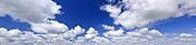 Cloudy Day Prints - Blue cloudy sky panorama Print by Elena Elisseeva