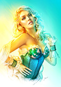 Pin-up Model Posters - Blue Corset Poster by Shannon Maer