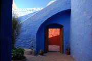 Painted Walls Prints - Blue courtyard Print by RicardMN Photography