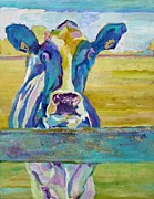 British Columbia Mixed Media Prints - Blue Cow Print by Janet Ashworth