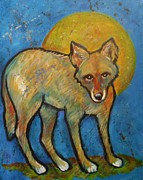 Coyote Art Paintings - Blue Coyote and the Full Moon by Carol Suzanne Niebuhr