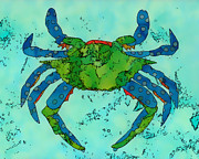 Batik Digital Art Posters - Blue Crab #5 Poster by Staci and Bill McLauchlan