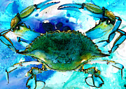 Blue Claws Posters - Blue Crab - Abstract Seafood Painting Poster by Sharon Cummings