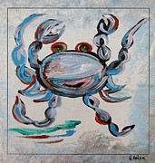 Sandy Beaches Mixed Media Prints - Blue Crab Dancing Print by Eloise Schneider