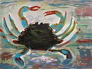 Swimmer Drawings - Blue Crab Memory by Mary Carol Williams