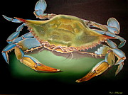 Blue Crab Paintings - Blue Crab on Green by Phyllis Beiser